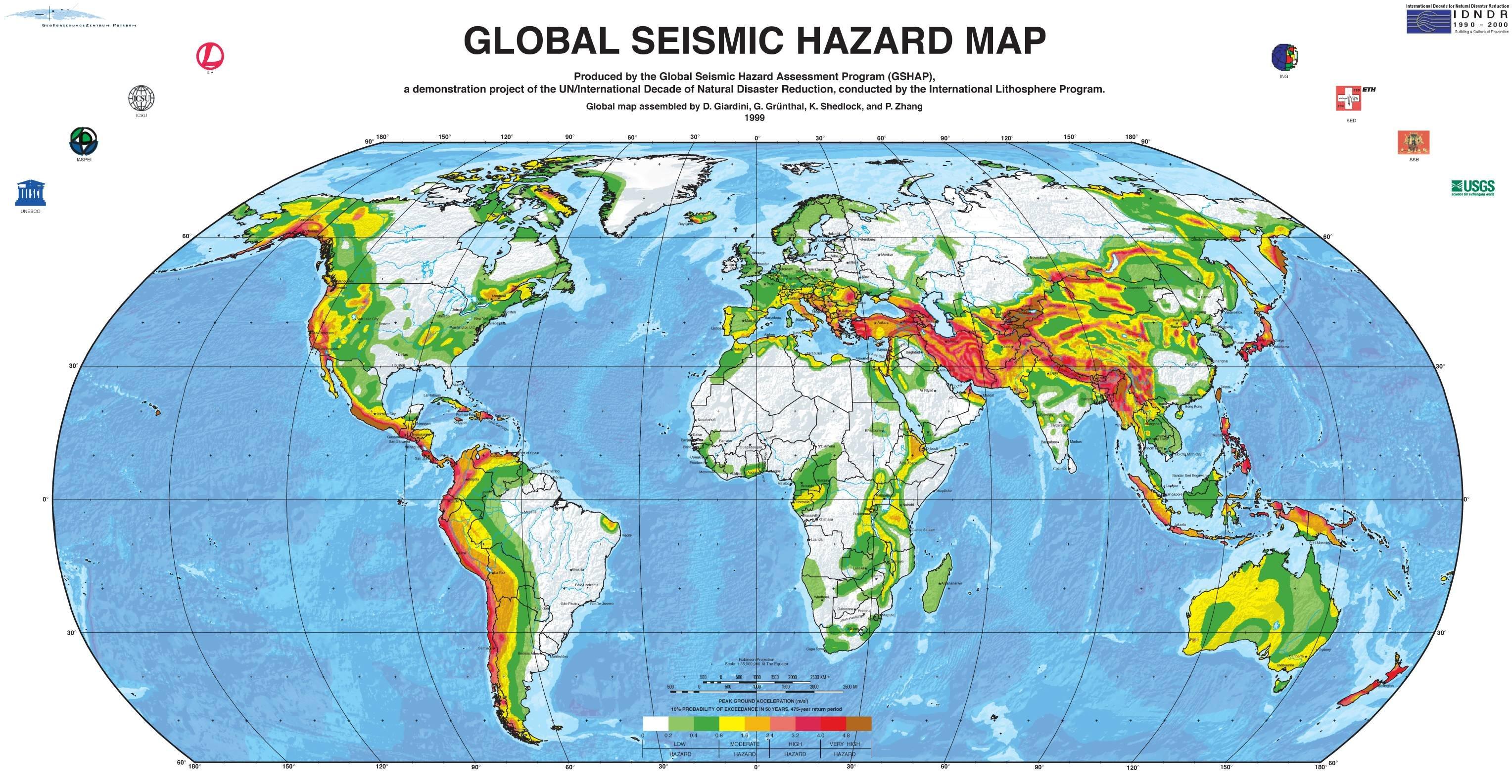 全球地震危害地圖
