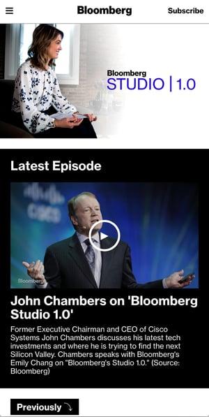Bloomberg Studio 1.0 是一個線上訪問詰問,與各領域名人探討世界的下一個趨勢